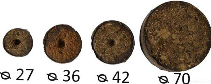 размеры торфяных таблеток
